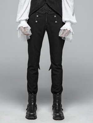 Black Vintage Pattern Gothic Daily Trousers for Men