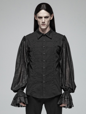 Black Gothic Retro Palace Long Sleeve Shirt for Men