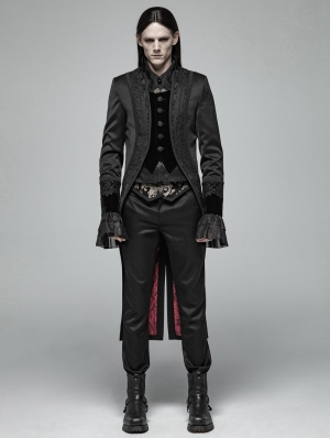 Black Gorgeous Gothic Retro Swallow Tail Coat for Men