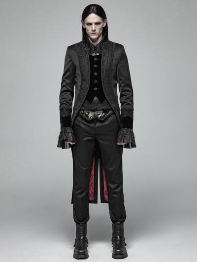 Black Gorgeous Gothic Retro Swallow Tail Coat for Men
