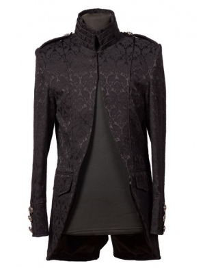Black High Collar Printed Pattern Gothic Coat for Men
