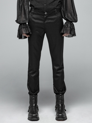Black Gothic Simple Daily Wear Trousers for Men