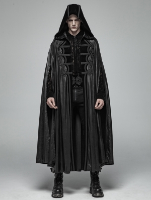 Black Gothic Retro Mystic Hooded Cloak for Men
