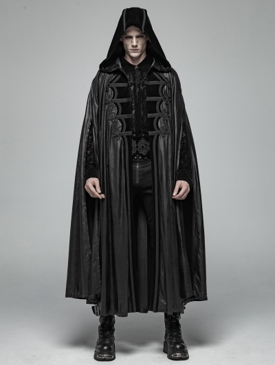 Black Gothic Retro Mystic Hooded Cloak for Men