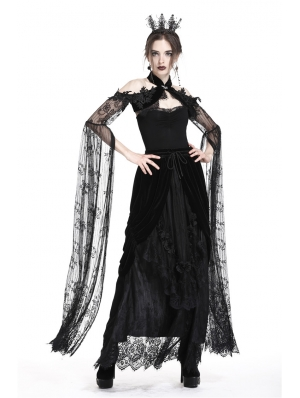 Romantic Black Gothic Super Long Lace Sleeves Cape for Women