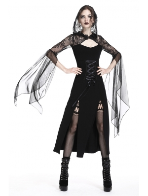 Black Gothic Lace Hooded Slits Sexy Long Dress