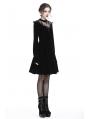 Romantic Black Gothic Cross Velvet Short Dress