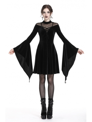 Black Gothic Velvet Long Trumpet Sleeves Short dress