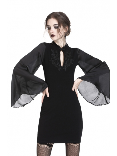 Black Vintage Gothic Velvet Mini Dress with Horn Sleeves