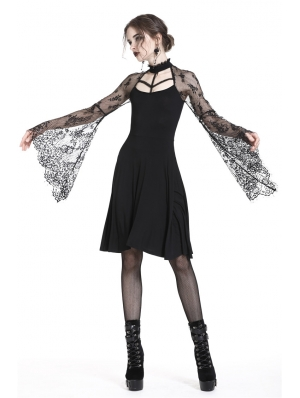 Black Gothic Sexy Lace Sleeves Mid-Length Dress