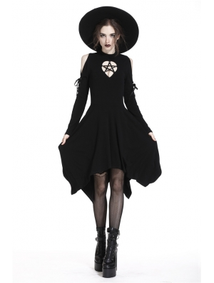 Black Gothic Punk Pentagram Irregular Mid-Length Dress