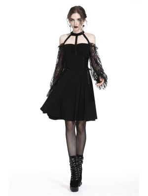 Elegant Black Gothic Lace Off-the-Shoulder Party Dress