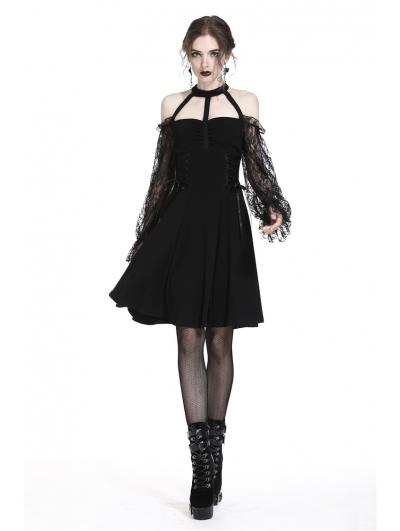 Elegant Black Gothic Lace Off-the-Shoulder Party Dress