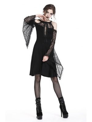 Elegant Black Gothic Lace Off-the-Shoulder Knitted Short Dress