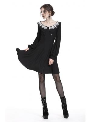 Black Gothic Chiffon Long Sleeves Short Dress