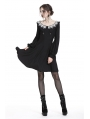 Black Gothic Chiffon Long Sleeves Short Dress