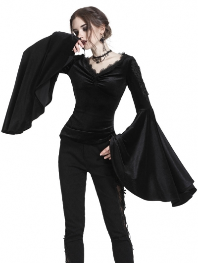 Black Gothic Velvet Long Trumpet Sleeves T-Shirt for Women