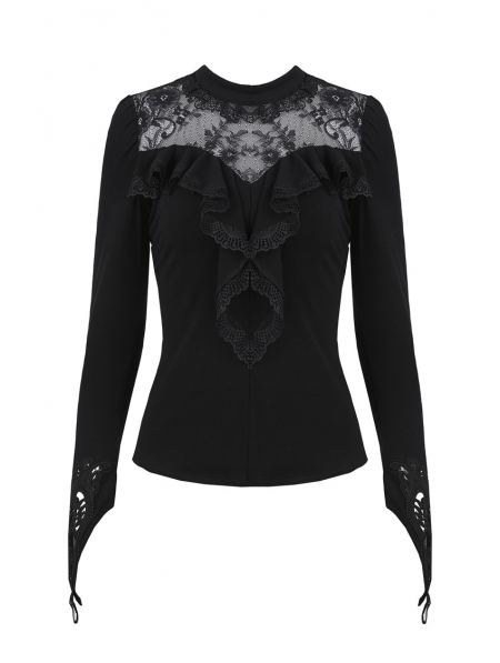 Black Gothic Floral Lace Long Sleeve T-Shirt for Women ...