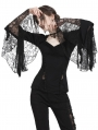 Black Gothic Lace Knitted Sexy T-Shirt for Women