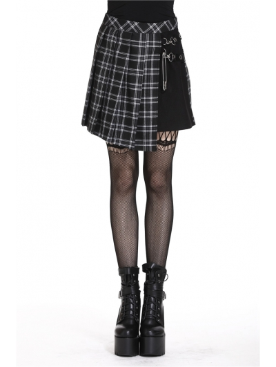 Black Gothic Punk Pleated Grid Irregular Hem Short Skirt