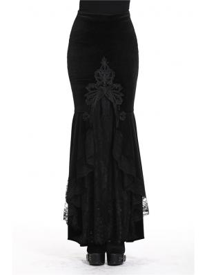 Black Gothic Velvet Long Fishtail skirt