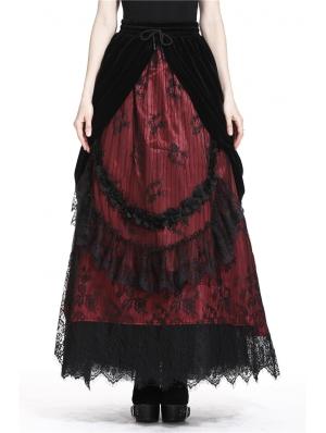 Romantic Gothic Black Red Velvet Lace Long Skirt