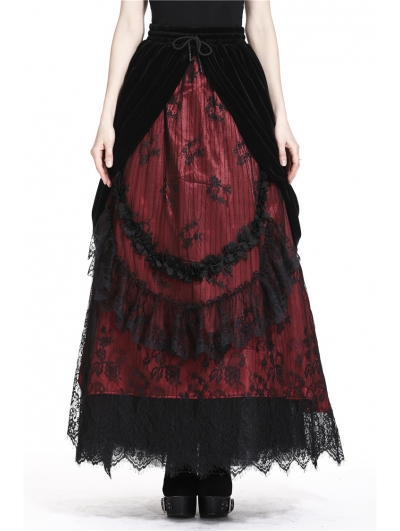 Romantic Gothic Black Red Velvet Lace Long Skirt