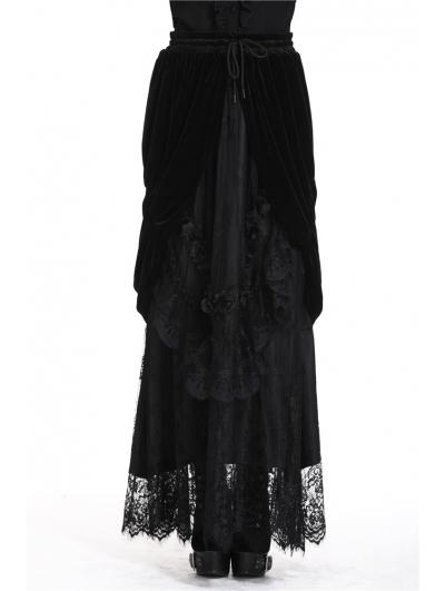 Romantic Gothic Black Velvet Lace Long Skirt