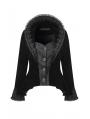 Black Gothic Royal Stand-up Collar Velvet Short Jacket for Women