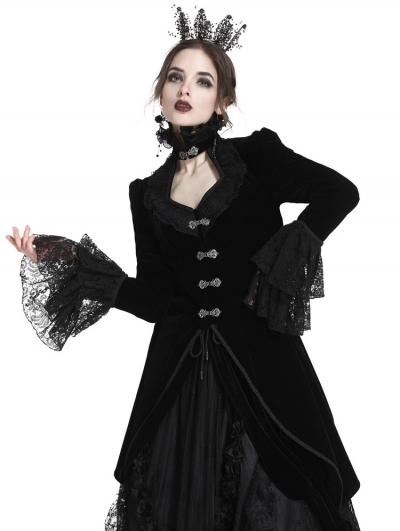 Black Gothic Velvet Swallow Lace Tail Jacket for Women