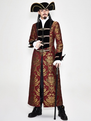 Vintage Red Gothic Pirate Long Coat for Men