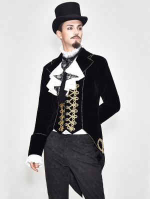 Black Vintage Gothic Stage Performance Party Tail Coat for Men