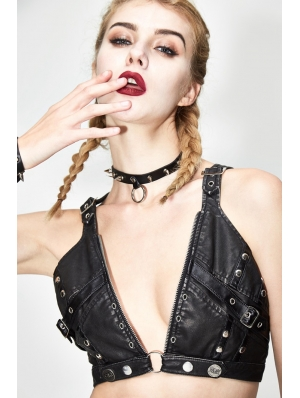 Black Gothic Punk Sexy Leather Bra Top for Women