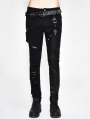 Black Gothic Punk Slim Pants for Men