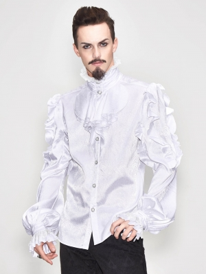 White Vintage Gothic Palace Bowtie Shirt for Men