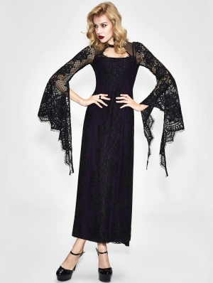 Black and Purple Romantic Gothic Lace Sexy Maxi Dress