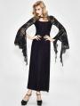 Black and Purple Romantic Gothic Lace Sexy Maxi Dress