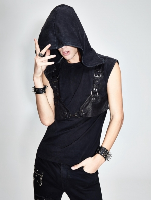 Black Gothic Punk Hooded Sleeveless Top for Men