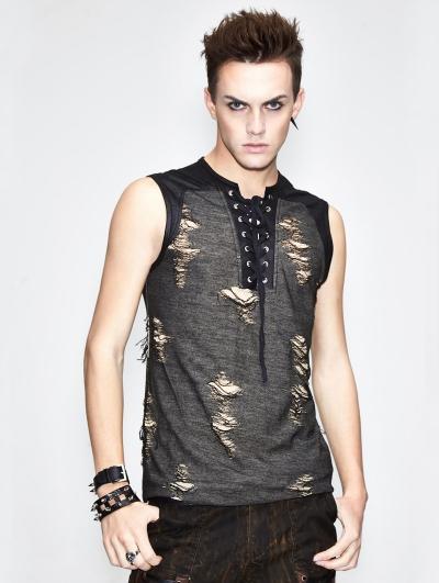 Gothic Hole Sleeveless T-Shirt for Men