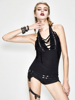 Black Gothic Halter Rivet Tank Top for Women