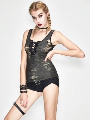 Gothic Summer Hole Tank Top for Women