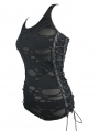Black Gothic Summer Hole Tank Top for Women