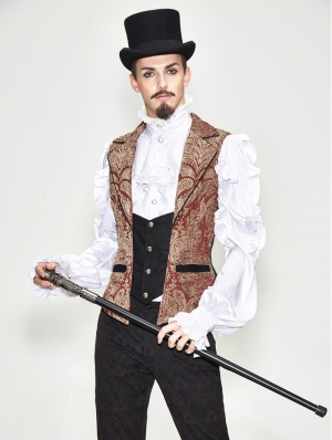 Red Vintage Gothic Victorian Waistcoat for Men