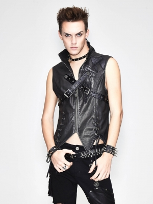 Black Gothic Punk Cross Buckle Belt Vest Top for Men
