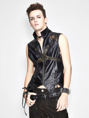 Bronze Gothic Punk Cross Buckle Belt Vest Top for Men