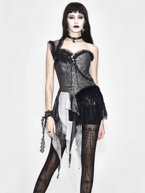 Sliver Vintage Pattern Gothic One-Shoulder Corset Top for Women