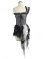 Sliver Vintage Pattern Gothic One-Shoulder Corset Top for Women
