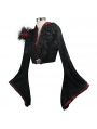 Black and Red Gothic Long Trumpet Sleeve Short Jacket for Women