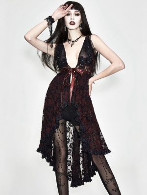 Red Romantic Sexy Gothic Lace Dress Top for Women
