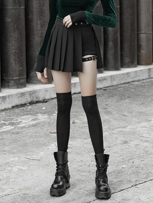 Black Street Fashion Gothic Punk Pleated Plaid Mini Skirt